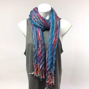 🔥Target  textured blue fringe red white scarf